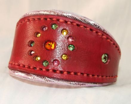 Hand-Made Bridle Leather Crystal Inset Italian Greyhound Collar (Red/Silver)